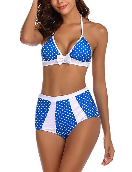 cde4b954ab Avidlove High Waist Swimsuit Bikinis Set Bathing Suits Polka Dot Swimwear  Navy Blue Small