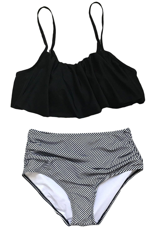 Black+stripe Asherbaby Women's Vintage Strapless Ruffle Tankini Striped High Waist Swimsuit