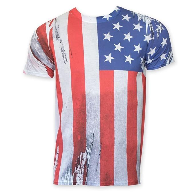 Patriotic American Flag Vertical de impresión de sublimación T camisa - Blanco -