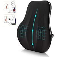 Newgam Lumbar Support Pillow/Back Cushion,Memory Foam Orthopedic Backrest with Breathable 3D Mesh for Car Seat,Office/Computer Chair,Wheelchair and Recliner,Ergonomic Design for Back Pain Relief-Black