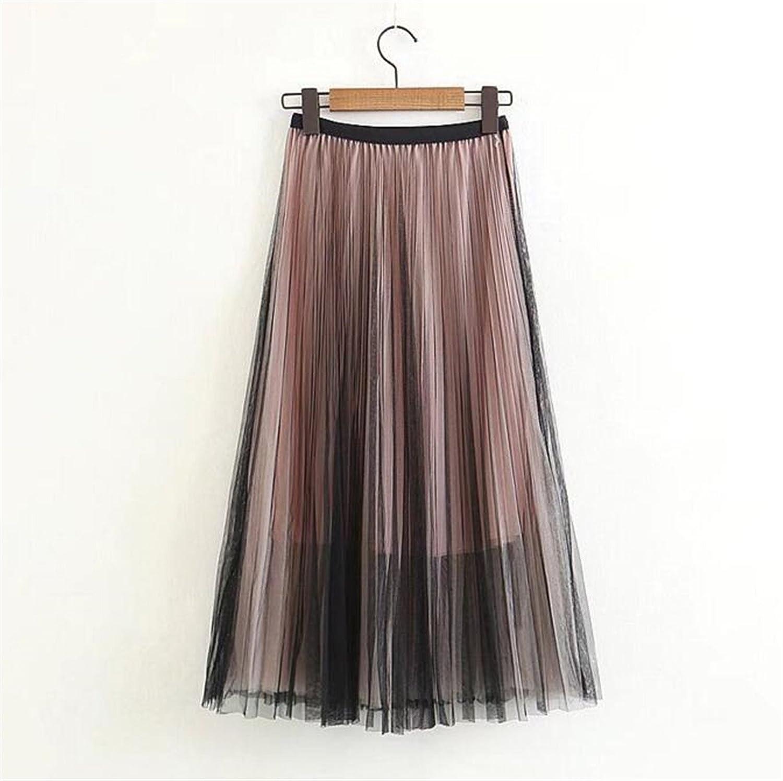 Brown One Size Women New Gauze Skirt for Women Princess Voile Long Skirt Midi