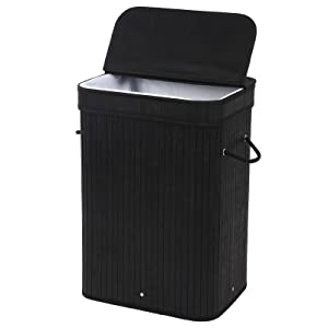 SONGMICS ULCB10H Bamboo Laundry Hamper Storage Basket Foldable Dirty Clothes Hamper with Lid Handles and Removable Liner Rectangular Black