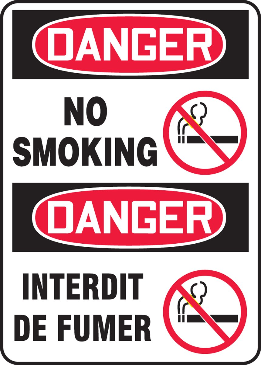 DANGER-NO SMOKING (BILINGUAL FRENCH)