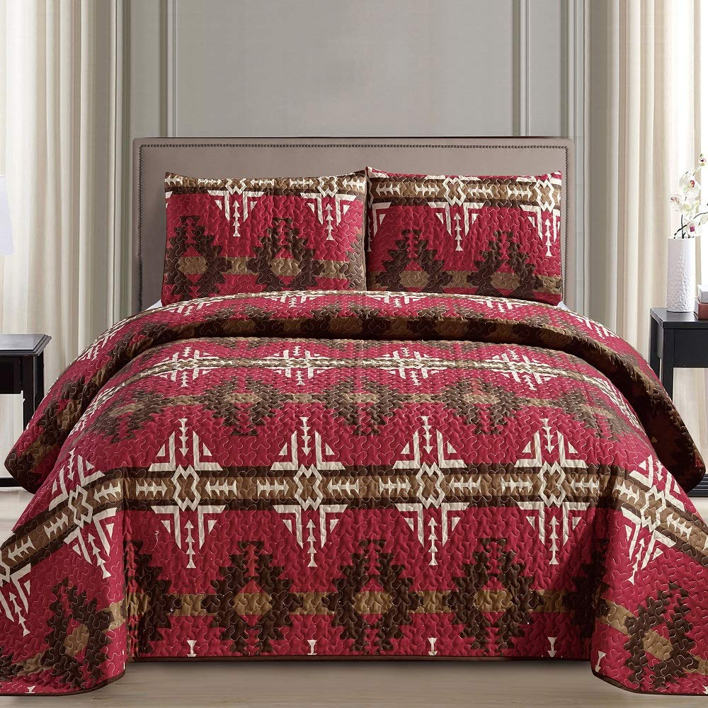 JABA Southwest Burgundy/Beige/Brown Print Bedspread 3 Piece Navajo/Native American Design Microfiber Cabin Lodge Quilt Set- King Size Southwestern Bedding