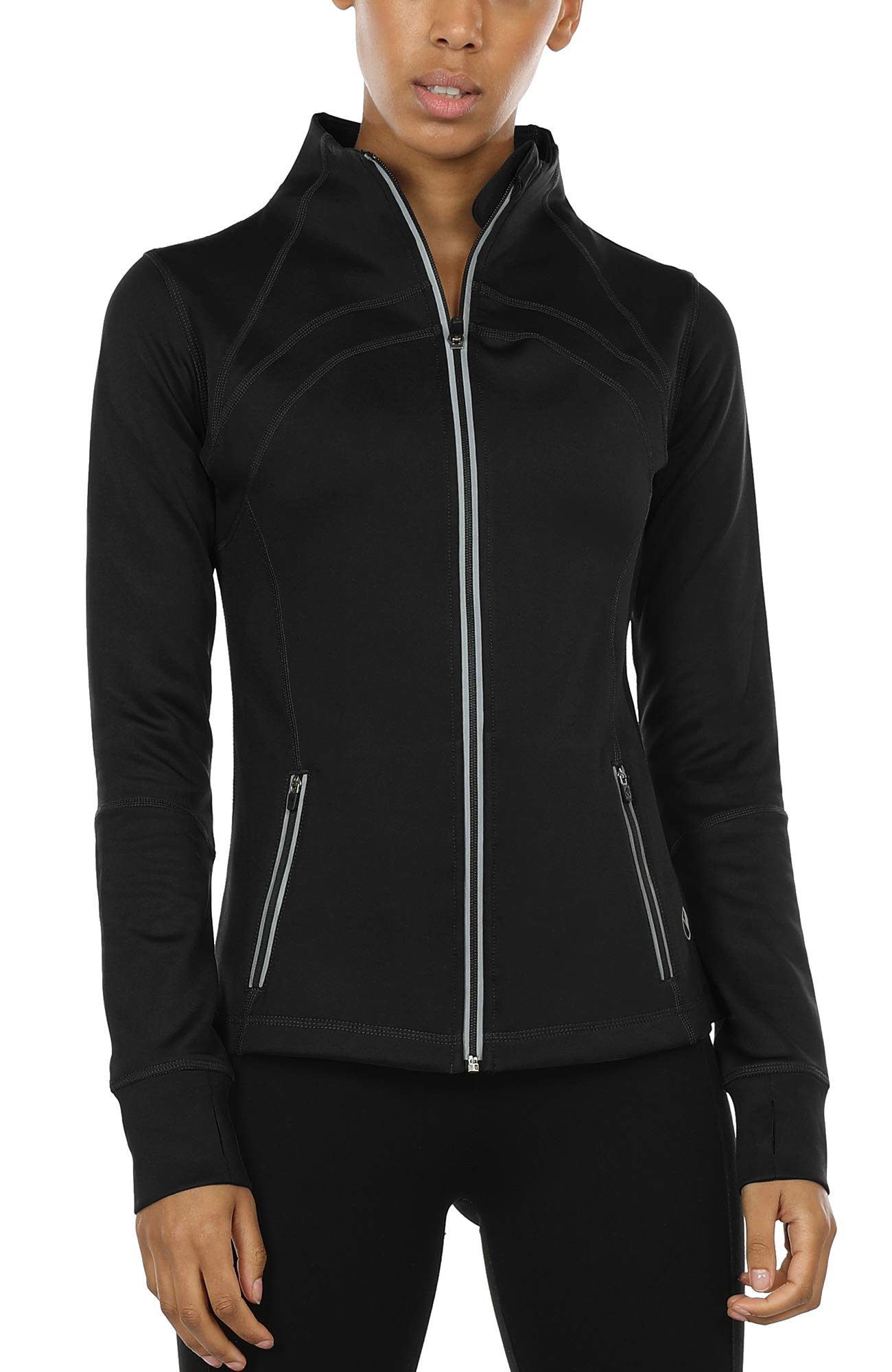 icyzone Women's Running Shirt Full Zip Workout Track Jacket with Thumb Holes (S, Solid Black)