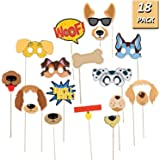 OuMuaMua Puppy Dog Party Costume Props – 18 Pack Dog Photo Booth Props for Dog Themed Birthday Party Decorations