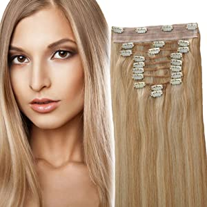 YONNA Remy Human Hair Clip in Extensions Double Weft Long Soft Straight 10 Pieces Thick to