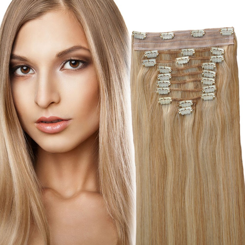 Amazon.com : YONNA Clip In Sets 10Pcs Clip In Human Hair Extensions Ash  Blonde with Medium Blonde #P18/22 Remy Human Hair Straight For Full Head  14inch ...