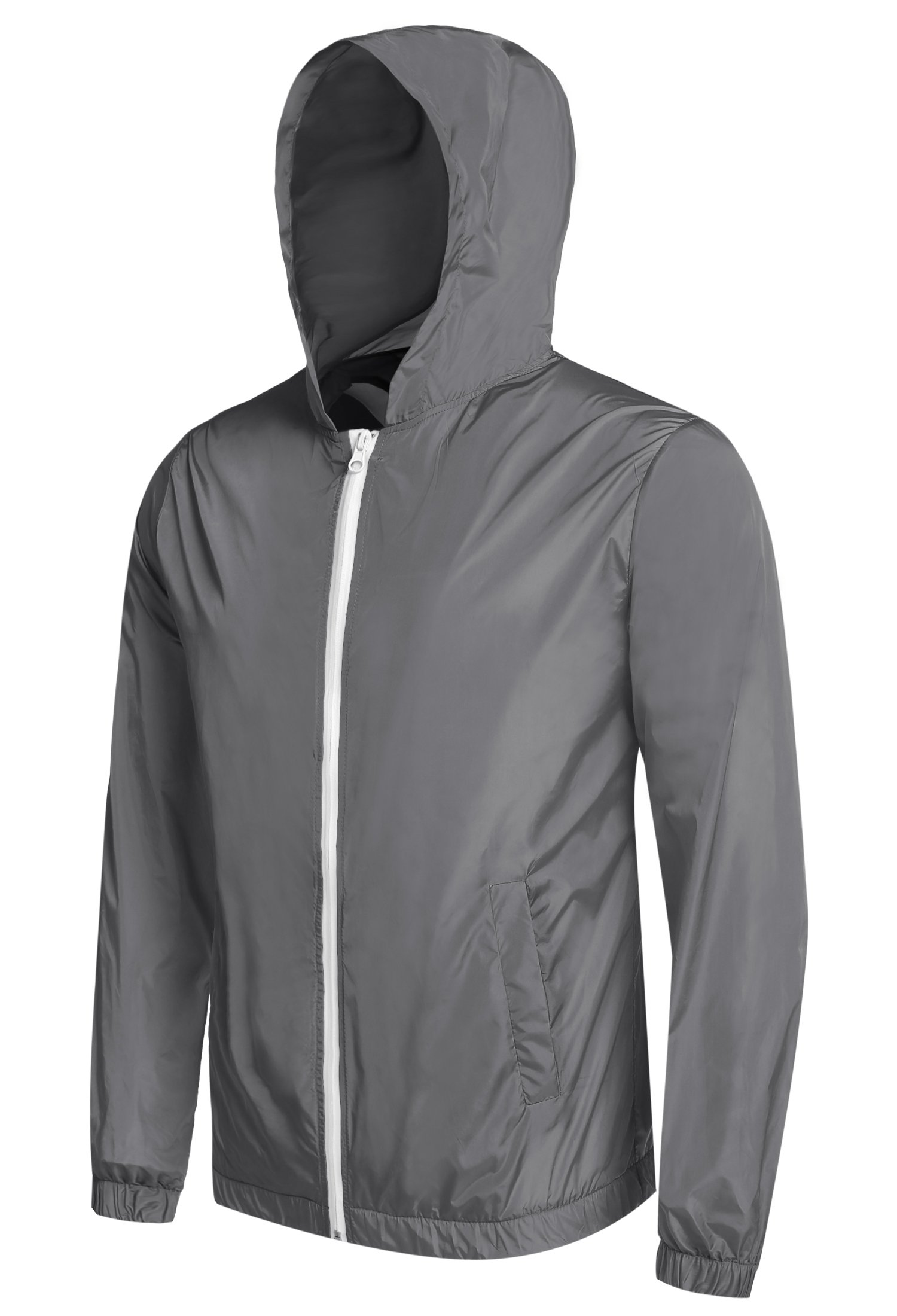 Detailorpin Men's Waterproof Rain Jacket Lightweight Hooded Outdoor Running Cycling Packable Raincoat