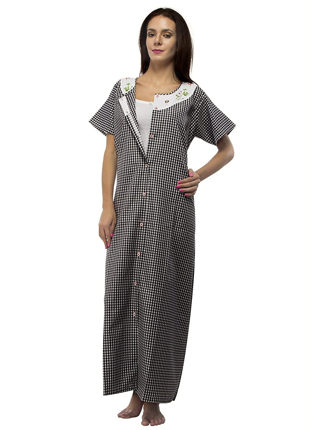 Vedvid Women s Comfortable Front Open Gown Button Terry Cotton Loose Fit  Maternity Nighty (BCFO-BK 642402137