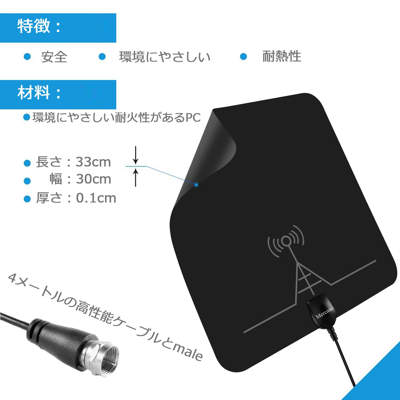 テレビ アンテナ 室内 地デジ ペーパーアンテナ 96KM受信範囲 取り外し可能増幅器と4メートルケーブル付き USB式 4K 1080P デジ HDTV 簡単設置 (ブラック)