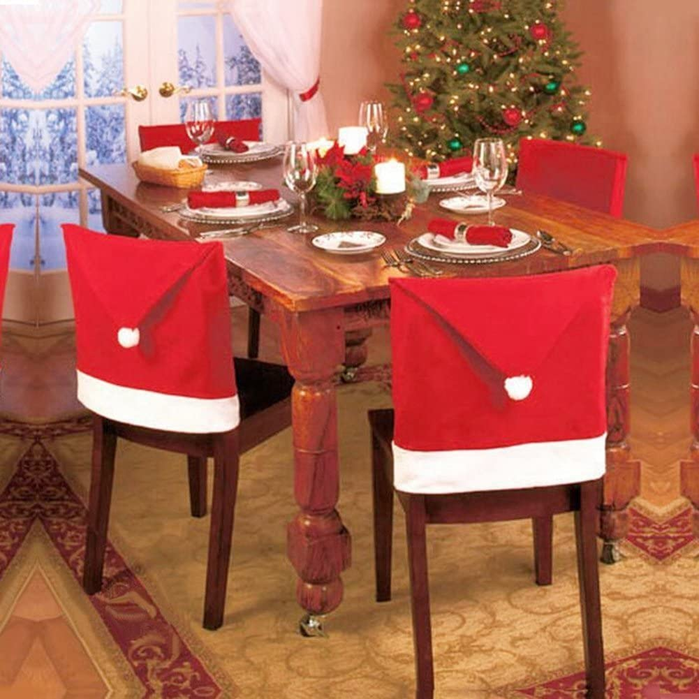 6 Pack Christmas Santa Claus Hat Dining Chair Back Covers Slipcovers Xmas Red Kitchen Chair Covers Sets Holiday Festive Decoration Decor, Set of 6