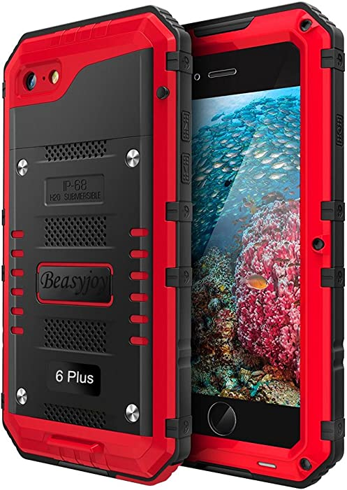 Beasyjoy Metal Phone Case Compatible with iPhone 6 Plus 6s Plus, Case with Built-in Screen Military Grade Protective Heavy Duty Metal Dropproof Shockproof Dirtproof Waterpproof Rugged Protection Red