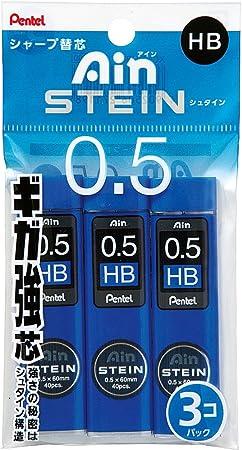 40x Pentel Druckbleistift Feinmine AinStein HiPolymer 0,5mm Mine schwarz 3B Dose