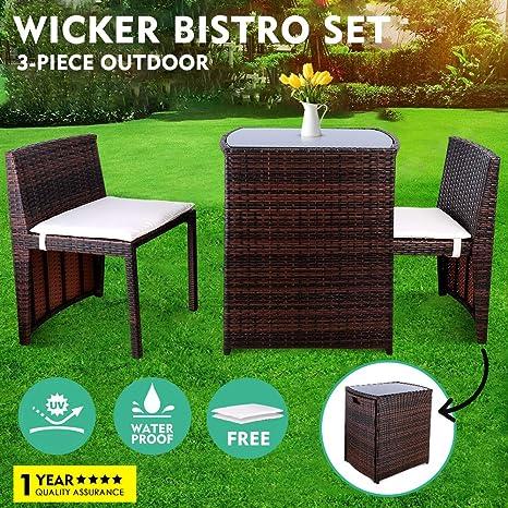Amazon.com: GARTIO - Juego de 3 muebles de mimbre para ...