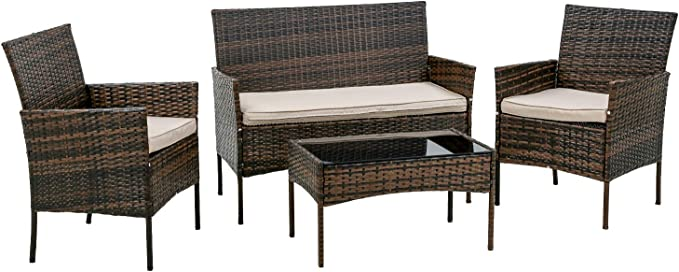 PayLessHere 3 Piece Furniture Patio Wicker Outdoor Rattan Conversation Bistro Sets for Backyard Porch Poolside Lawn,Brown