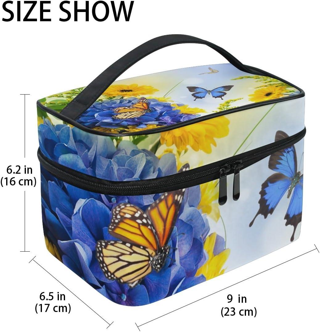 COOSUN Fleurs Papillons num/érique Hydragea marguerites bleu sac cosm/étique sac en toile Voyage Toiletry Top Handle une seule couche de maquillage Sac Organisateur multi-fonction Case cosm/étique pour