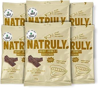 NATRULY Beef Jerky Original, Carne Seca 100% Vacuno, Sin Gluten, Sin Lactosa, Sin Azúcar, Sin Aditivos Artificiales -Pack 6x25g (Natural AThlete)