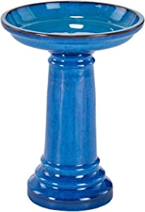 Smart Living 207104-BT Aviatra Ceramic Birdbath, Blue, With Easy Assembly And Great Durability