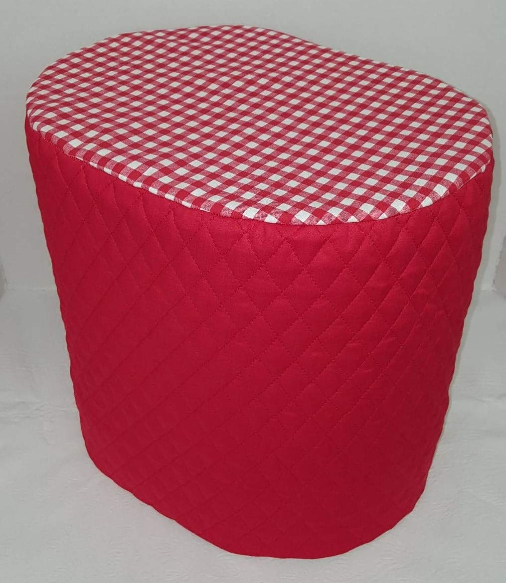 Red Checked Food Processor Cover (Red, Large)