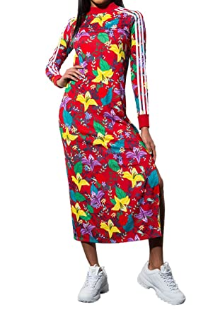 4c53c0c0 adidas Women's Blossom of Life Floral 3 Stripes Long Sleeve Maxi ...