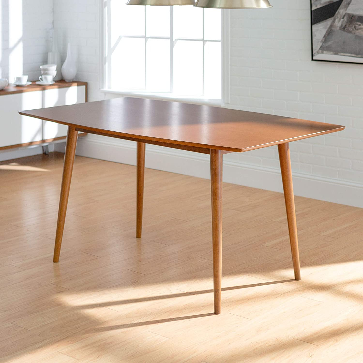 We Furniture Azw60mcac 6 Person Mid Century Modern Wood Hairpin Rectangle Kitchen Dining Table 60 Inch Brown