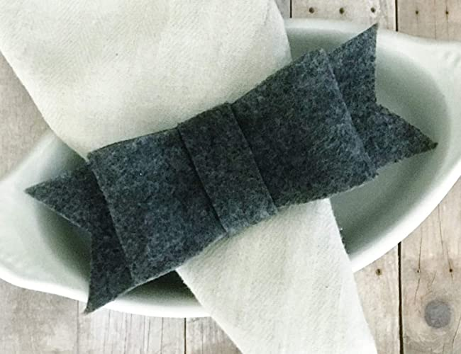 Amazon Com Heather Grey Felt Bow Napkin Rings Table Setting Decor