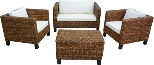 Juego de mesa de mimbre, bambú rattan Milán sofá sillas mesa ...