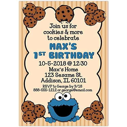 Amazoncom Cookie Monster Birthday Party Invitations Handmade