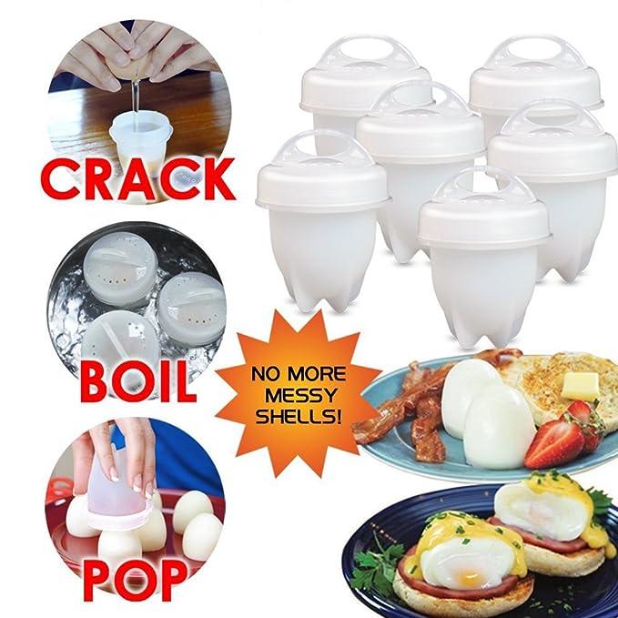 Egglettes - Cocina de huevos rígida y suave, sin cáscara, silicona antiadherente, cazadora, hervida, como se ve en la televisión: Amazon.es: Hogar