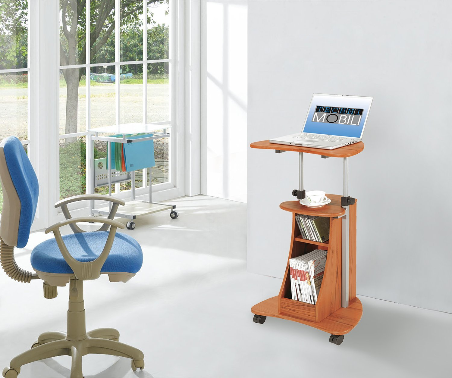 Amazon.com: Adjustable Height Laptop Cart With Storage. Color ...