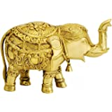 ITOS365 Brass Trunk up Elephant Statues - Showpiece Metal Statue - Lucky Figurine- Home Décor Gifts Item