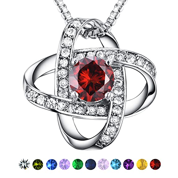 Casfine Red Cubic Zirconia Necklace - January Birthstone Jewelry Necklace White Gold Birthstone Necklace for Women