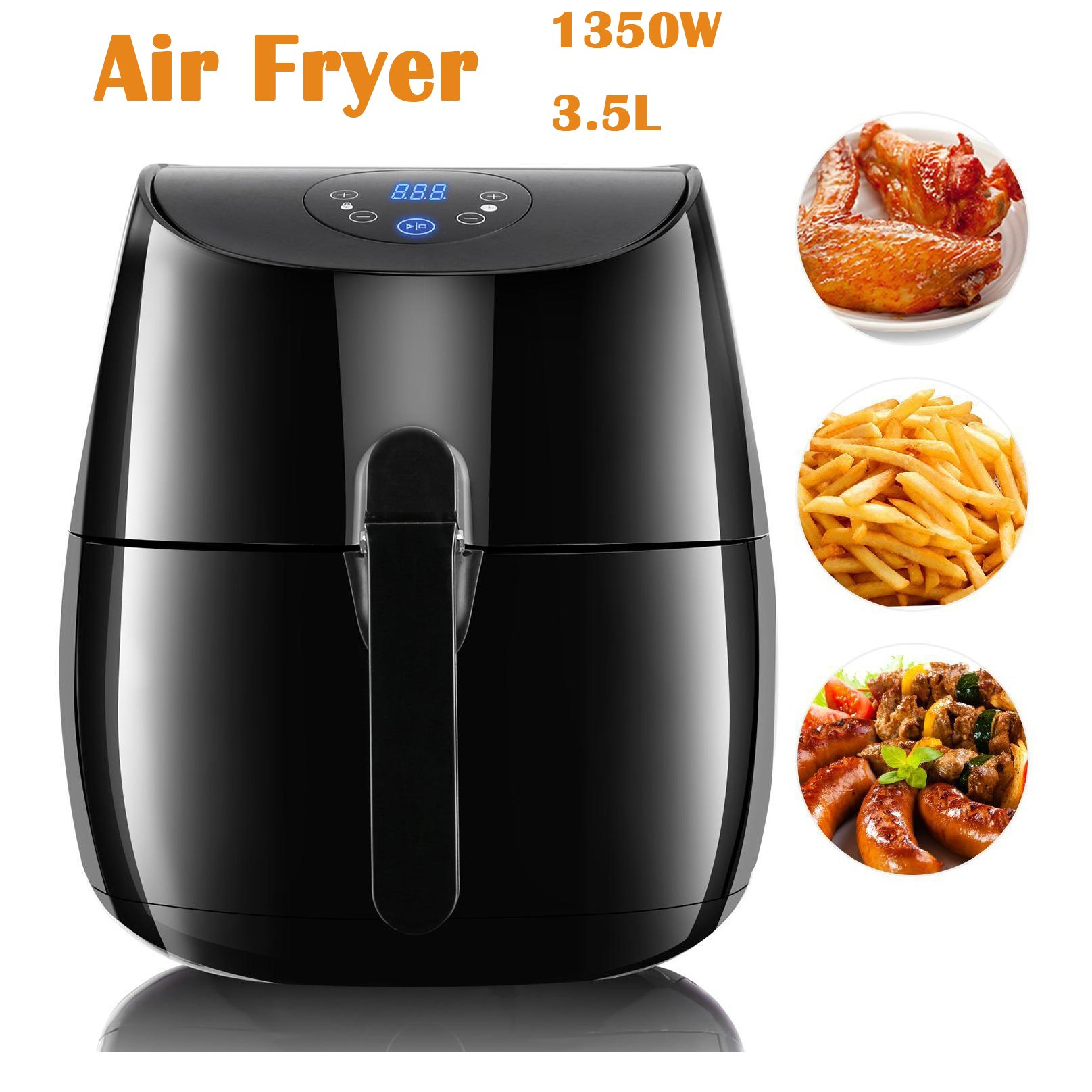 1350W 3.5L Electric Air Fryer, 3.7QT Multi-Function Oil Free Hot Air Fryer Cooker with Timer and Temperature Control for Healthy Cooking