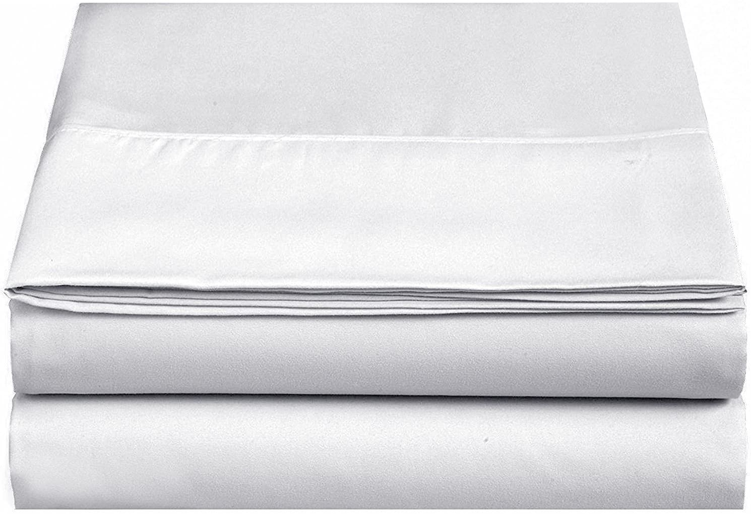 4U LIFE 2 Piece Flat Sheet, Ultra Soft and Comfortable Microfiber, Twin, White: Home & Kitchen