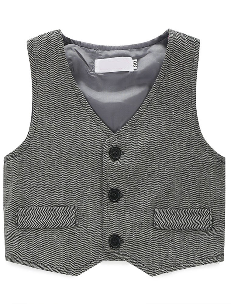 Abolai Baby Boys' 3 Piece Vest Set with Shirt,Vest and Pant Grey 80 by Abolai (Image #2)
