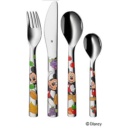 WMF Disney Mickey Mouse - Cubertería para niños 4 piezas (tenedor, cuchillo de mesa
