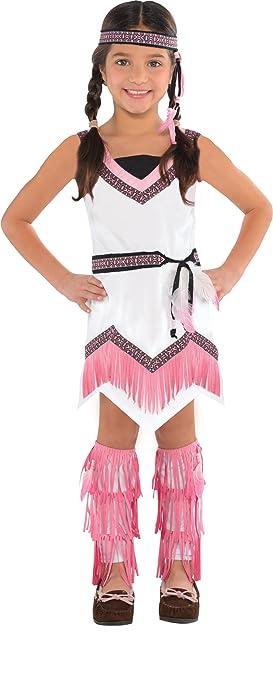 Disfraz de India blanco y rosa para niñas en varias tallas
