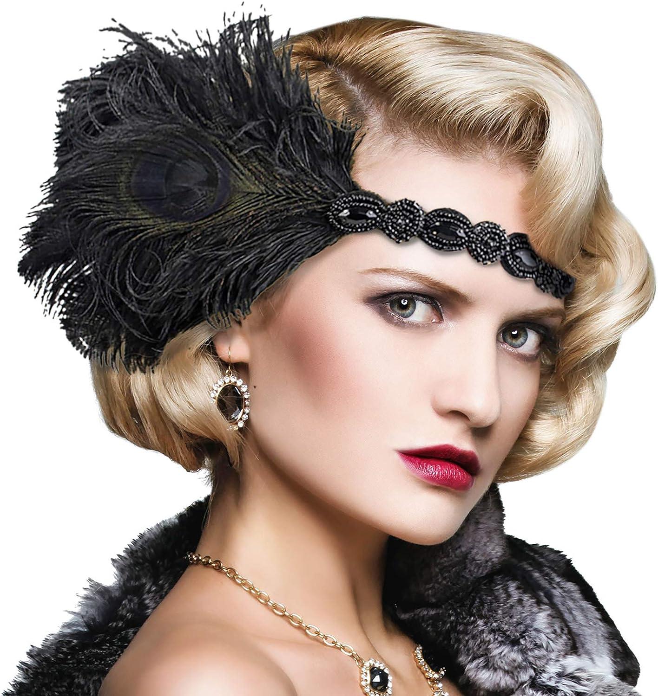 Ladies Girls Black Stretchy Sequin Headband Hairband Dance Fascinator Flapper