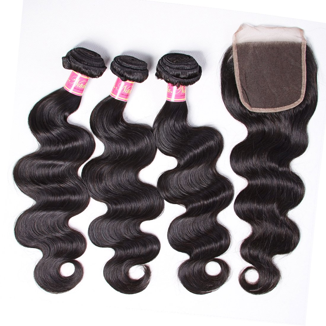 Nadula 6A Gorgeous Body Wave Brazilian Virgin Hair Free Part Lace Closure with 3 Bundles Unprocessed Remy Human Hair Weave Extensions Natural Color (18 20 22&16closure) by Nadula (Image #2)
