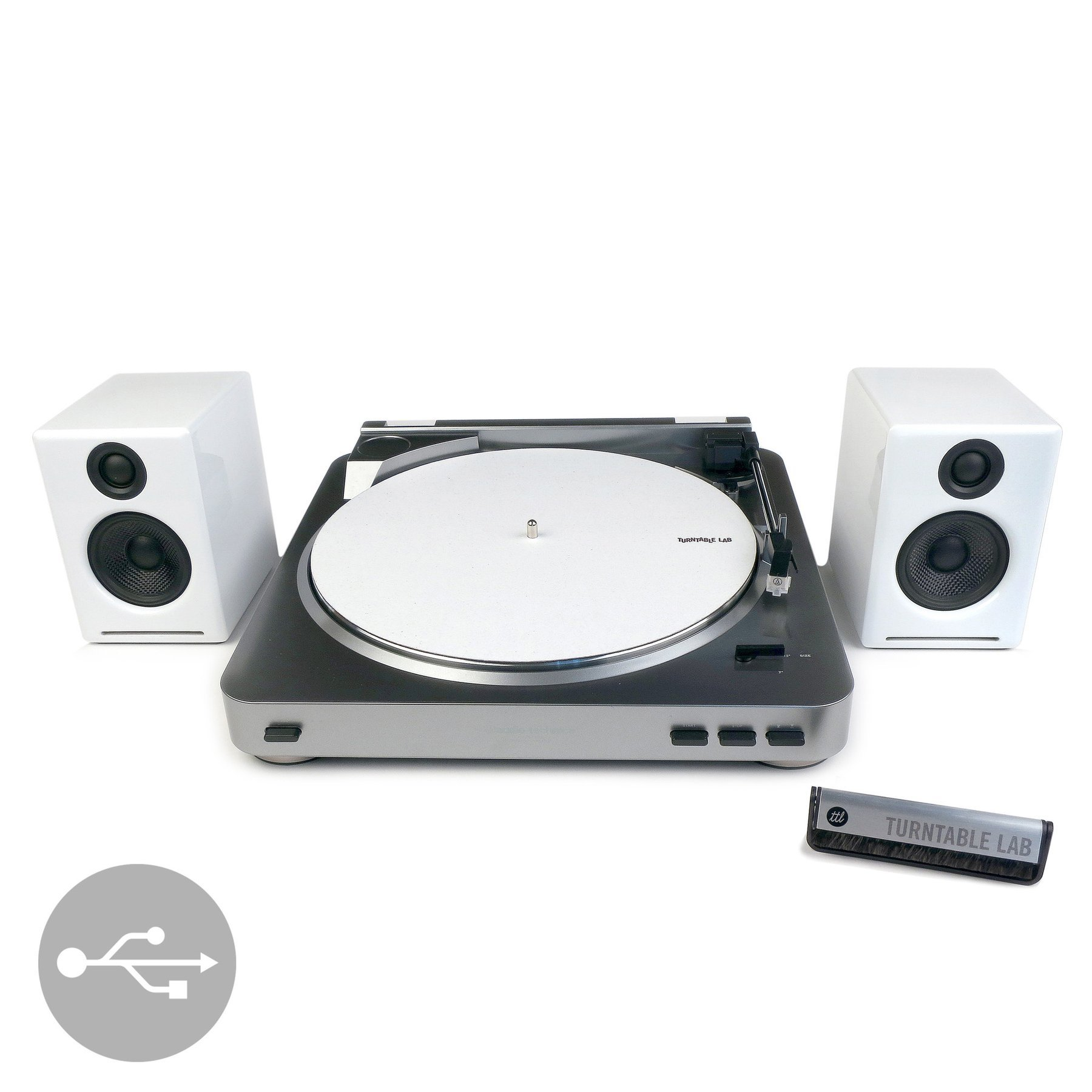 Audio-Technica: AT-LP60-USB Turntable + Audioengine A2+ Speakers Package - White