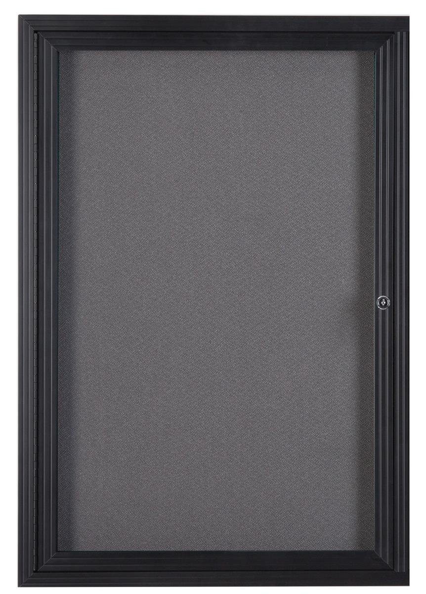 Displays2go 24 x 36 Inches Wall Mountable Enclosed Message Board with Hinged Swing-Open Door, Gray and Black Aluminum (LGFBBF2436) by Displays2go