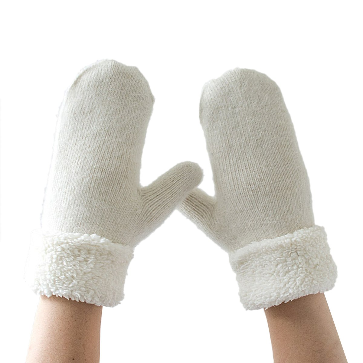 Butterme Rabbit Fur lana Super spessore caldo Guanti Mitten Peluche imbottitura invernale Mitten man...