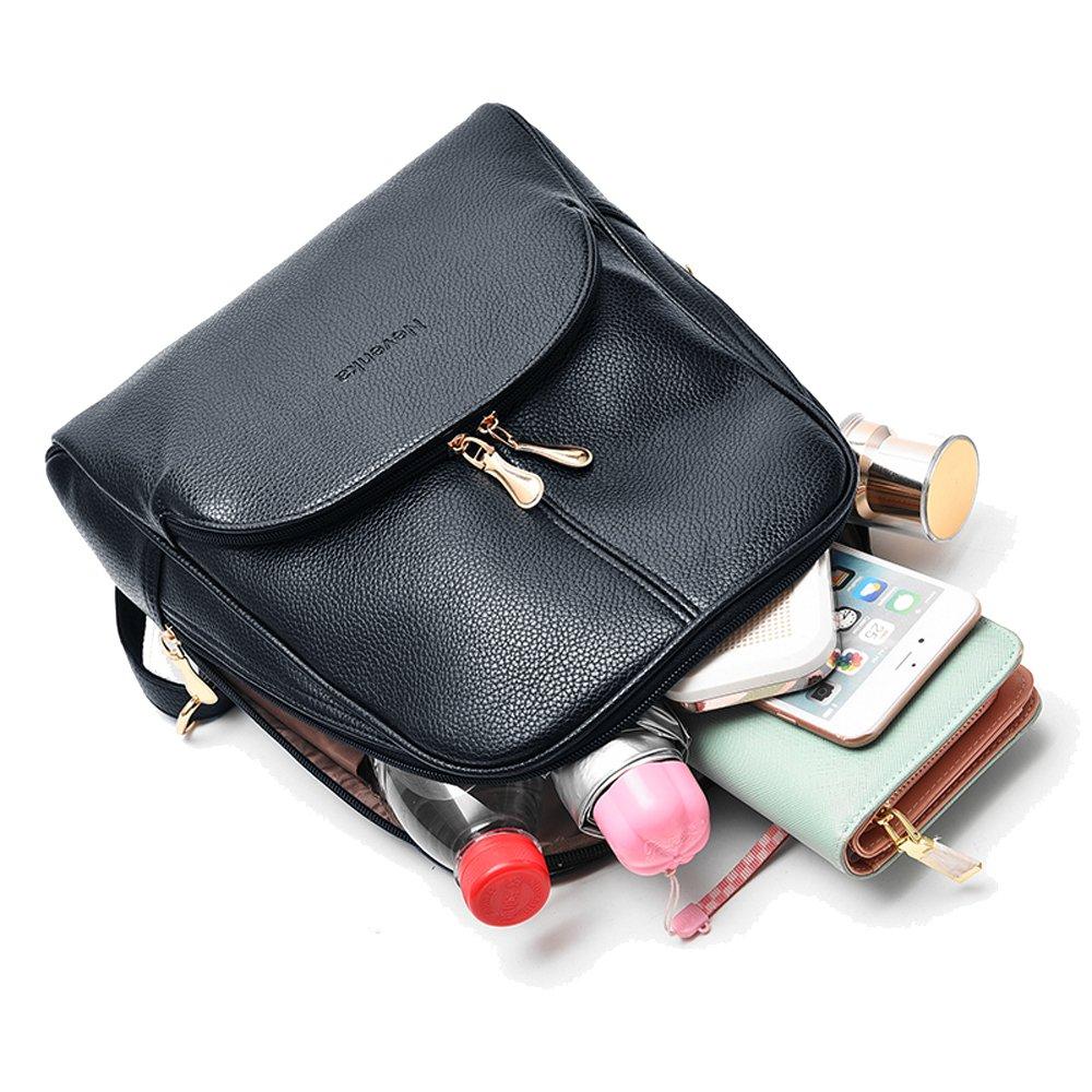 Nevenka Brand Women Bags Backpack Purse PU Leather Zipper Bags Casual Backpacks Shoulder Bags (Autumn Maple) by Nevenka (Image #4)