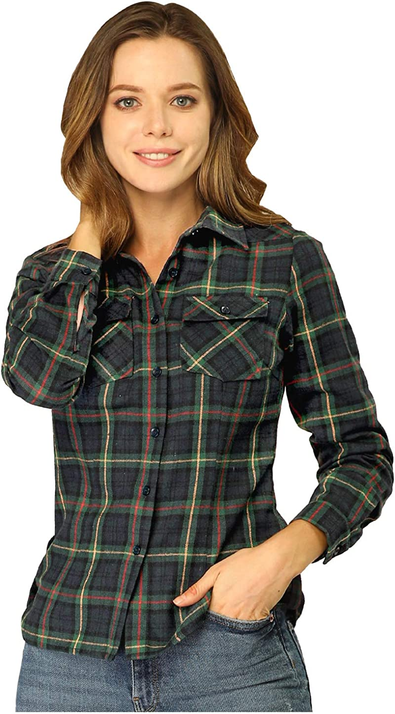 Allegra K Camisa De Franela A Cuadros con Botones Manga Larga para Mujer