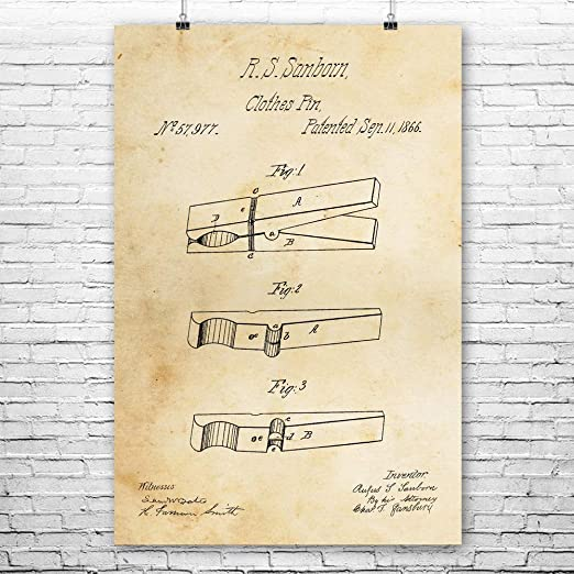 Amazon Com Clothes Pin Poster Print Laundry Room Art Housekeeper Gift Farmhouse Decor Clothespin Blueprint Home Maker Gifts 8 Inch X 10 Inch Posters Prints