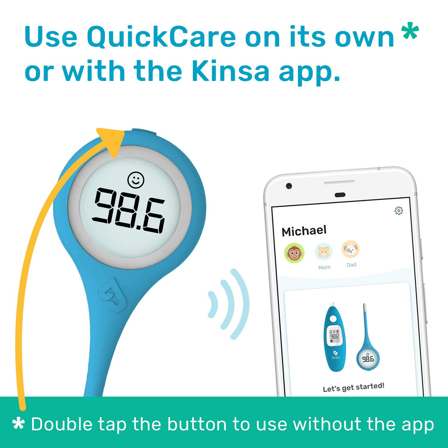 Kinsa QuickCare Smart Thermometer for Fever - Digital Medical Baby, Kid and Adult Termometro - Accurate, Fast, FDA Cleared Thermometer for Oral, Armpit or Rectal Temperature Reading: Industrial & Scientific