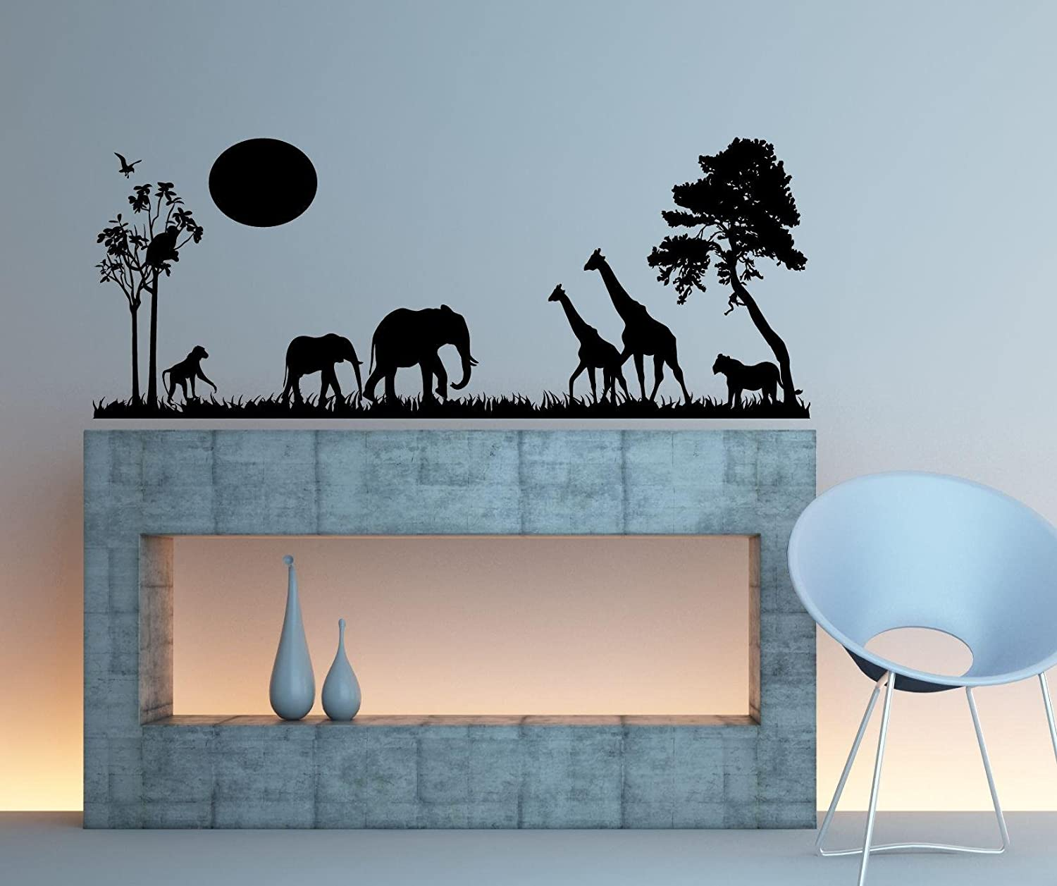 Safari Scene Wall Decal Home Decor 13 X 34 Other Products