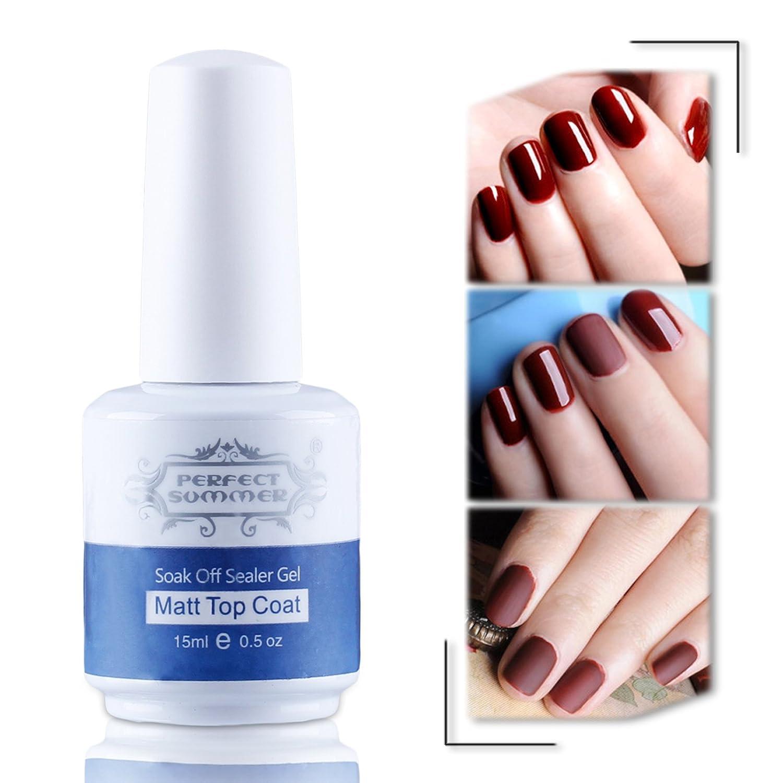 Perfect Summer 15ml Top Coat Mat Effet pour Vernis à Ongles Gel Semi Permanent UV LED Nail Art French Manucures Ltd