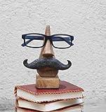 """Store Indya, Schrullige handgefertigte """"Nasenform"""" Brillenhalter Palisander Brillen Sonnenbrillen Halter Stand fur zu Hause und Buro Dekor (Schnurrbart Nase Form braun2)"""